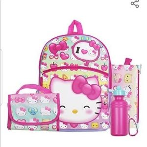 Hello Kitty Backpack Set water bottle, lunch box